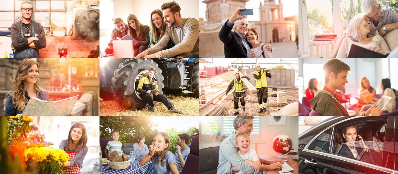 Collage mit Menschen unterschiedlichen Alters in verschiedenen Lebenssituationen